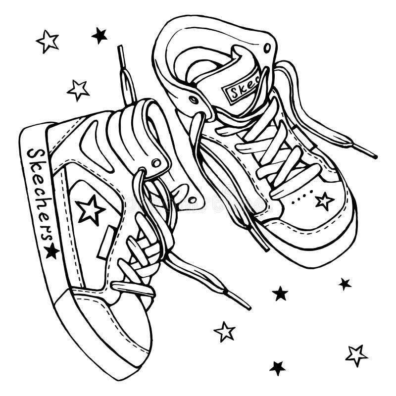 Vector lo schizzo delle scarpe da tennis di un paio con i pizzi illustrazione vettoriale