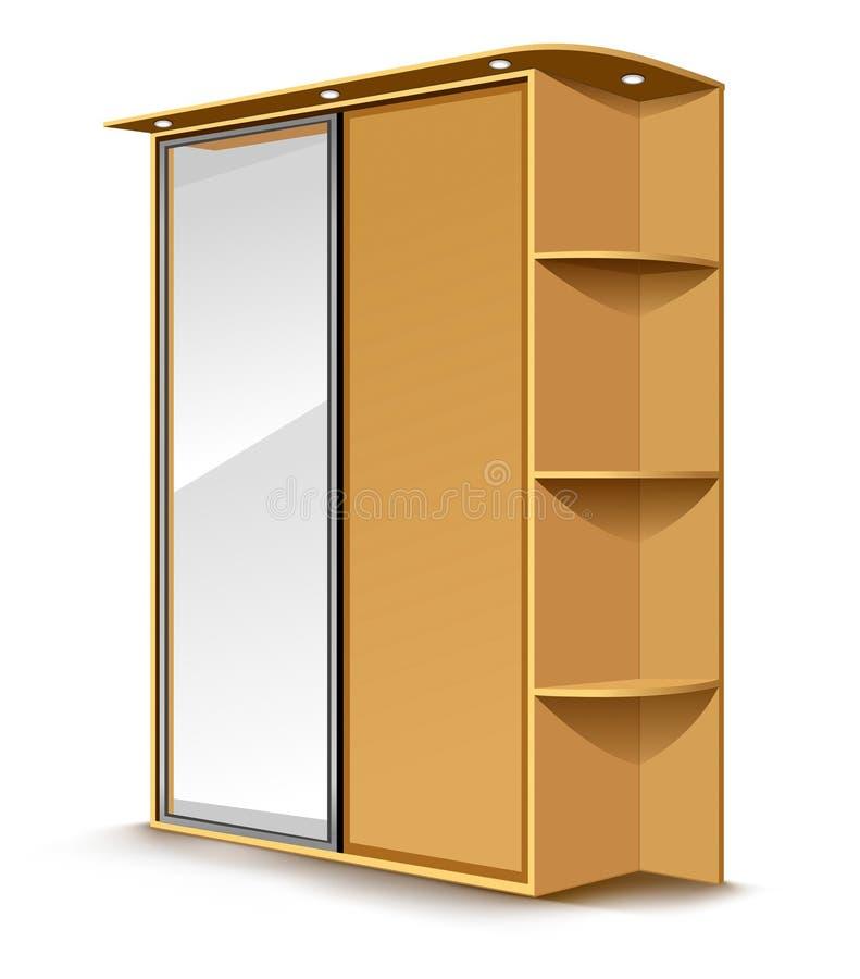 Vector lo specchio di legno del guardaroba illustrazione vettoriale