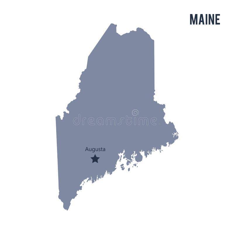 Vector lo stato della mappa di Maine ha isolato su fondo bianco illustrazione vettoriale