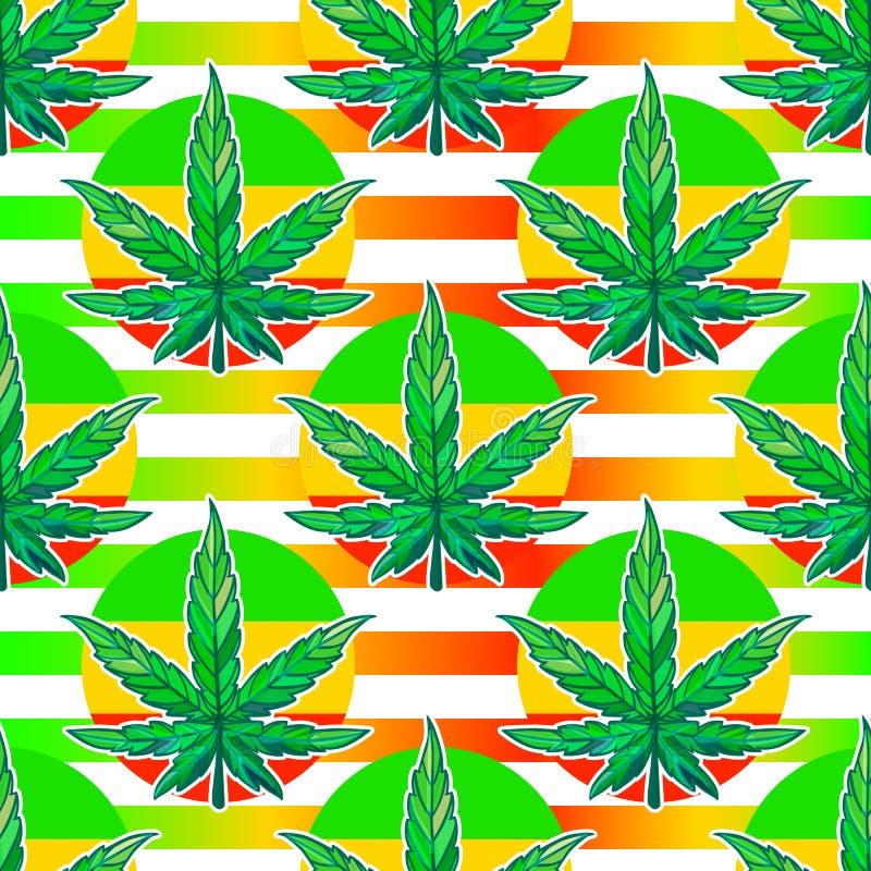 Vector lo strato senza cuciture del modello della cannabis con le bande luminose illustrazione vettoriale