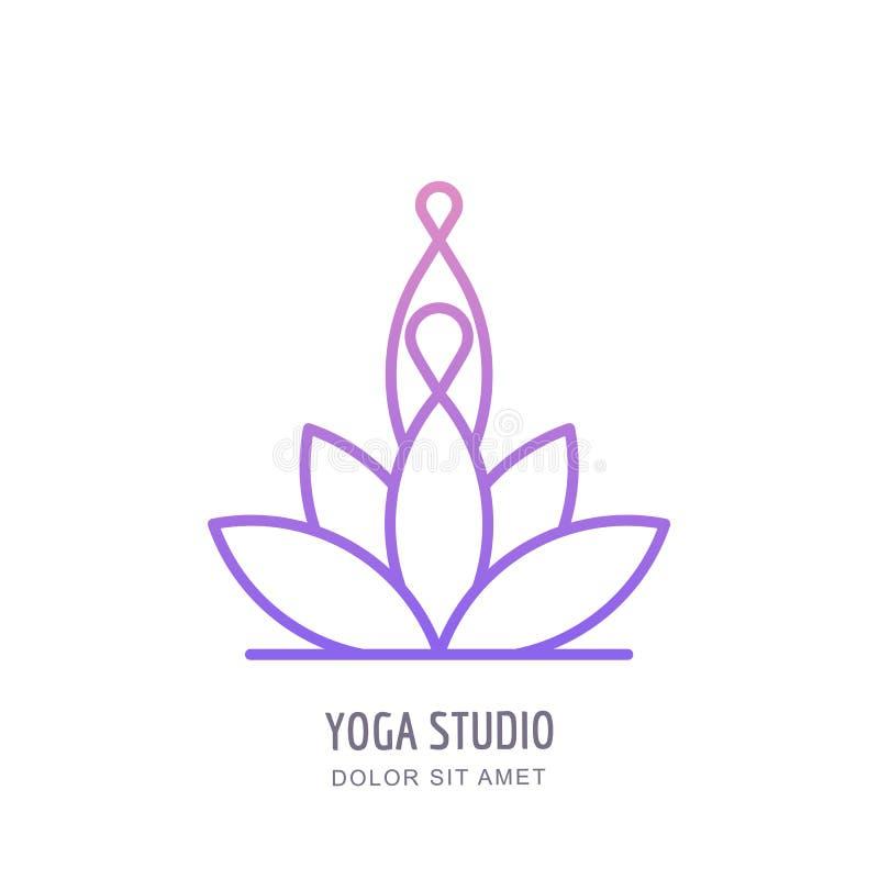 Vector lo studio di yoga o il logo del profilo della scuola, simbolizza, identifica il modello di progettazione Linea siluetta um royalty illustrazione gratis