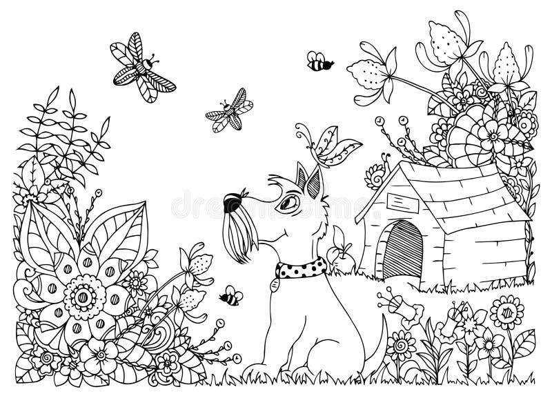 Vector lo zentangl dell'illustrazione, canile ed in fiori Disegno floreale di scarabocchio Esercizi meditativi Libro di coloritur illustrazione vettoriale