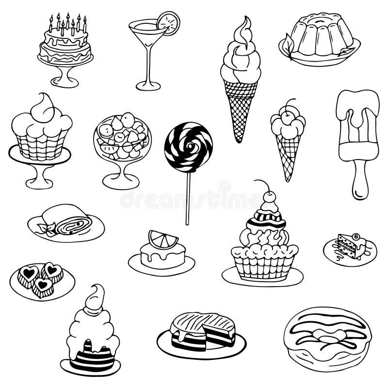 Vector lo zentangl dell'illustrazione, il dolce di scarabocchio, dessert Esercizi meditativi Anti sforzo del libro da colorare pe illustrazione di stock