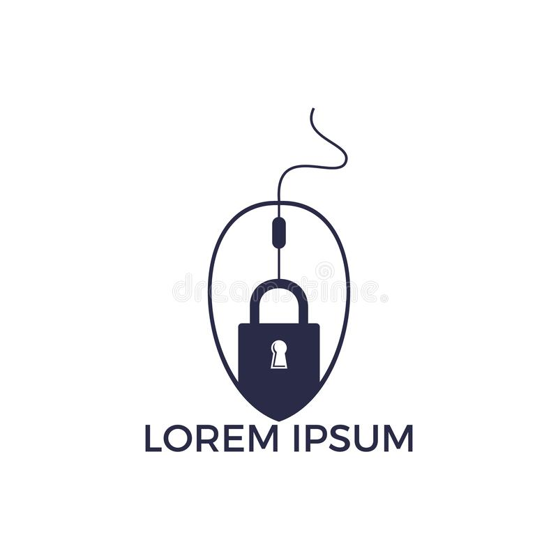 Lock Click Logo Design. stock illustration