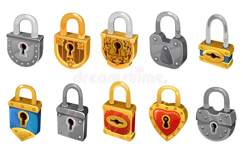 Vector lock set isolated on white background for security protection. Vector locking mechanism icons for web design, games, ui, royalty free illustration