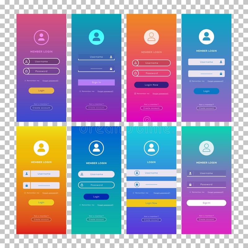 Vector login form page set isolated on transparent background royalty free illustration