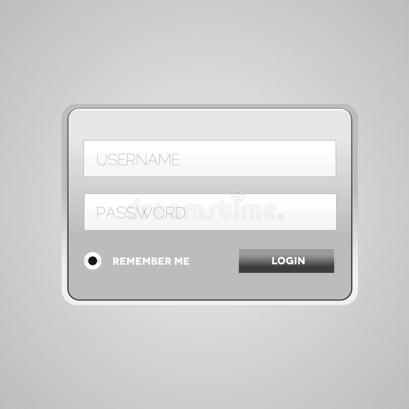 Vector Login Form Template Stock Photos