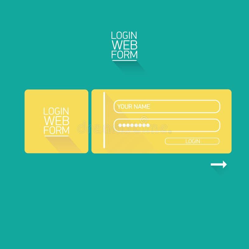 Vector Login Website Template Flat Design. Stock Vector ...