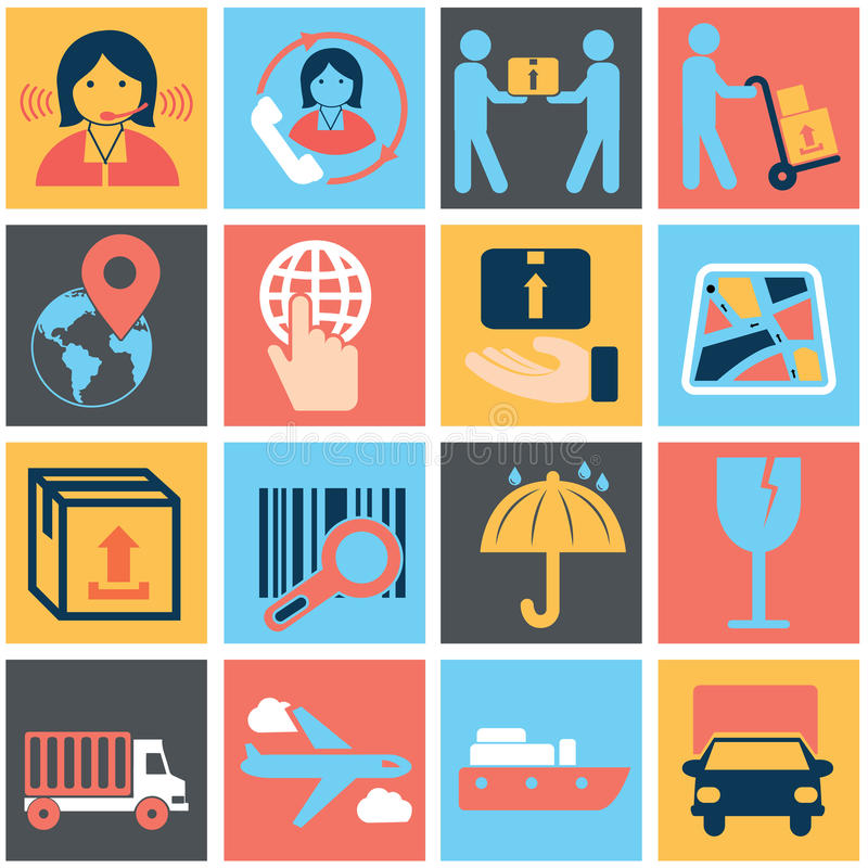 Vector logistic, delivery and shipping icon set royalty free illustration