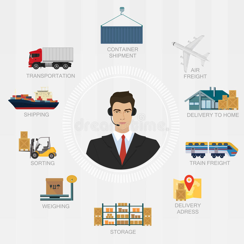Vector logistics manager agent concept. Delivery cargo system vector service illustration. royalty free illustration