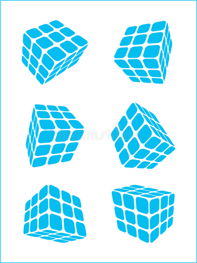 Vector Logo. A set of cubic shapes on white isolated background royalty free illustration