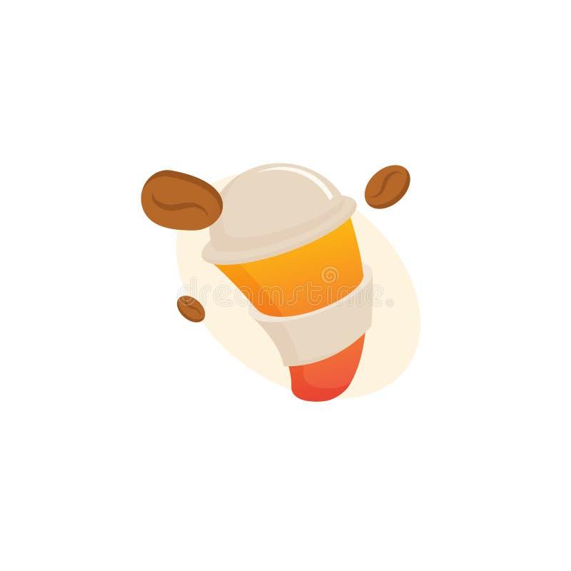 Vector Logo auf Lager, abstraktes Zeichen des Cafés, Vektorschablone der Cafeteria und Bistros lizenzfreie abbildung