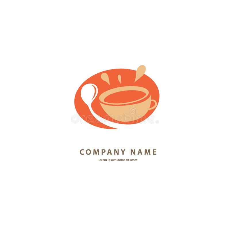 Vector Logo auf Lager, abstraktes Zeichen des Cafés, Vektorschablone der Cafeteria und Bistros stock abbildung