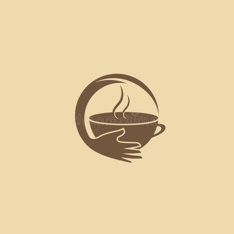 Vector Logo auf Lager, abstraktes Zeichen des Cafés, Vektorschablone der Cafeteria und Bistros vektor abbildung