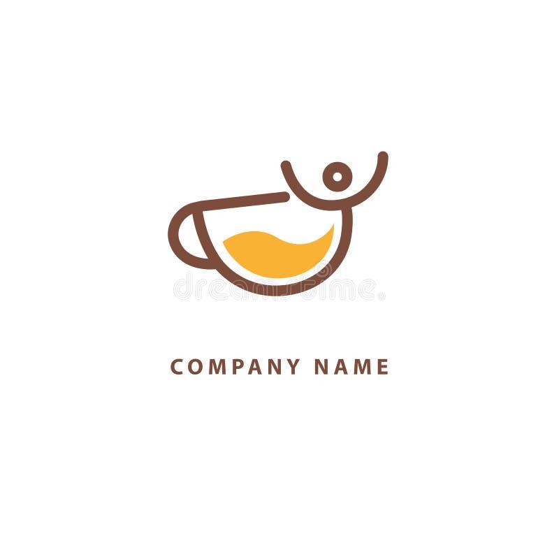 Vector Logo auf Lager, abstraktes Zeichen des Cafés, Vektorschablone der Cafeteria und Bistros Illustrationsentwurf von monoline, lizenzfreie abbildung