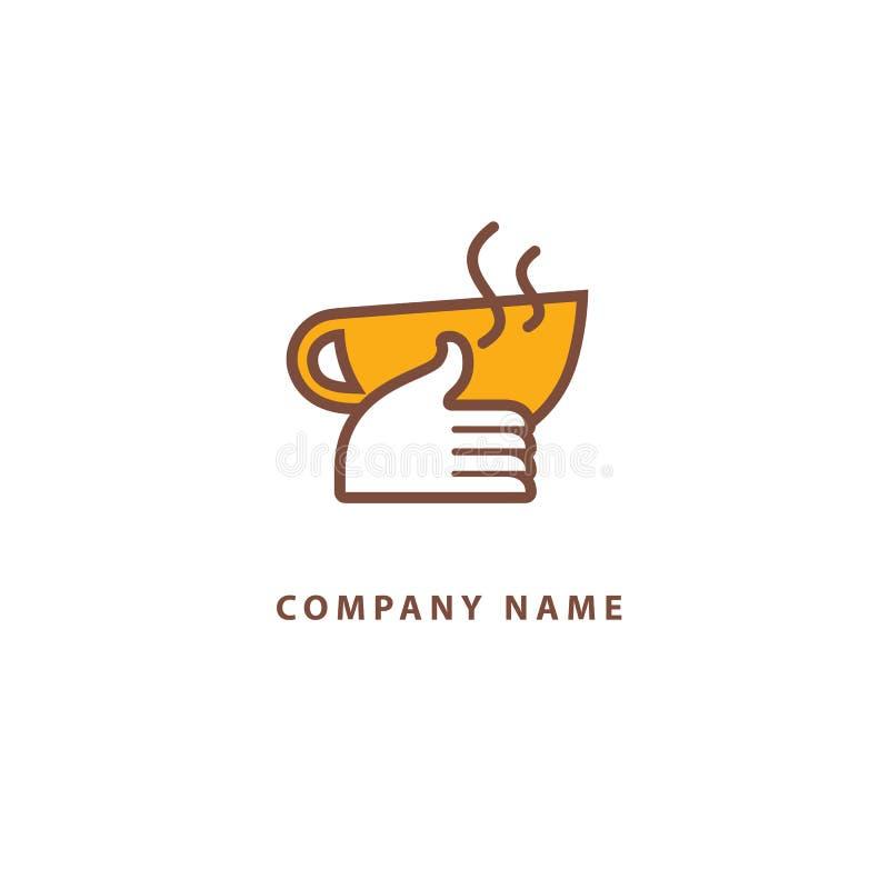 Vector Logo auf Lager, abstraktes Zeichen des Cafés, Vektorschablone der Cafeteria und Bistros Illustrationsentwurf von monoline, stock abbildung
