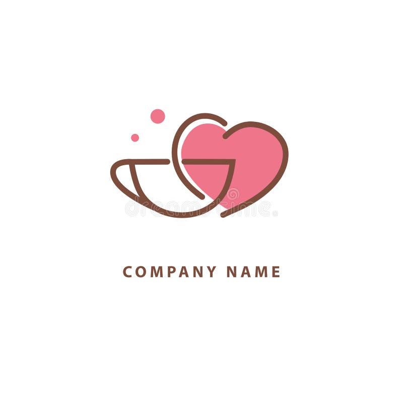 Vector Logo auf Lager, abstraktes Zeichen des Cafés, Vektorschablone der Cafeteria und Bistros Illustrationsentwurf von monoline, vektor abbildung