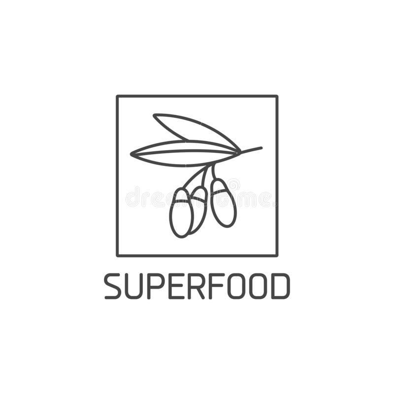 Vector logo, badge and icon for natural and health product. Superfood sign design. Symbol of healthy eating. Detox and stock illustration