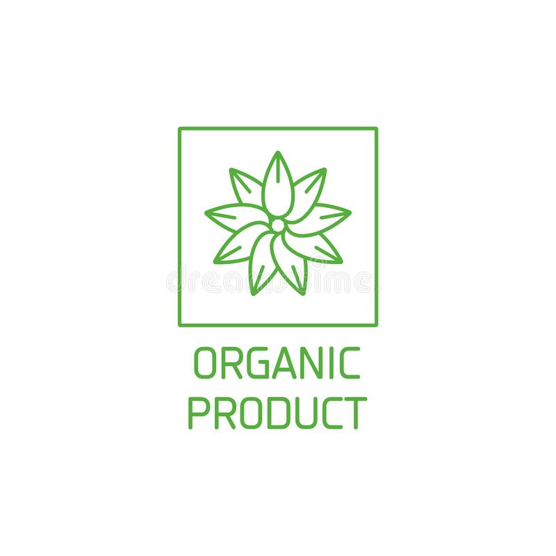 Vector logo, badge and icon for natural and organic products. Leaves in a circle. Symbol of healthy product. vector illustration
