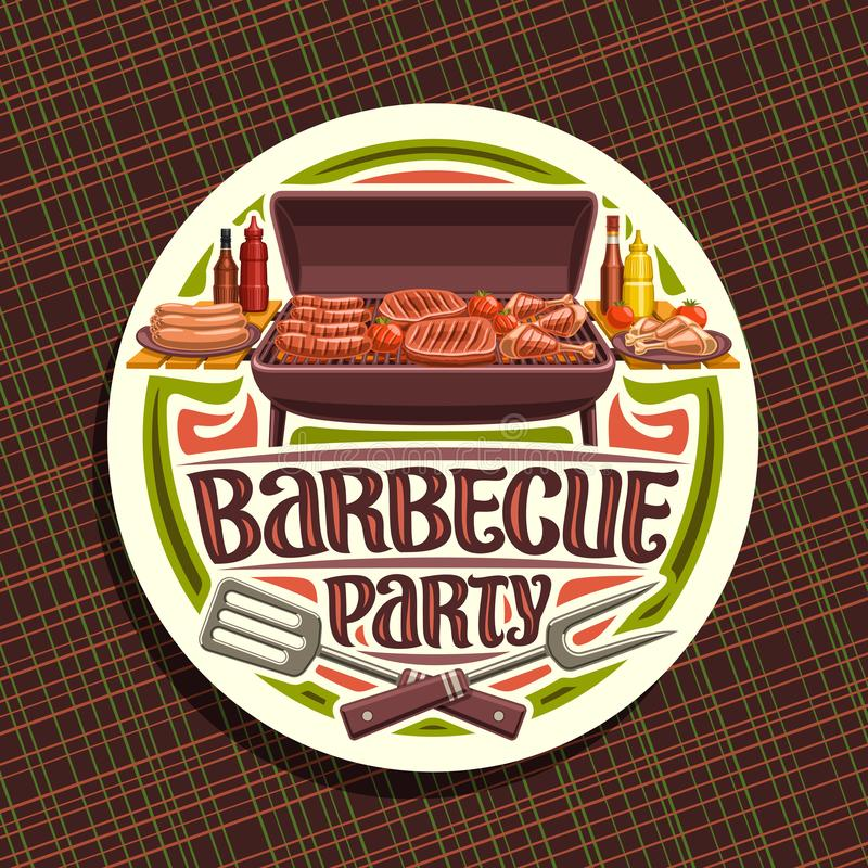 Vector logo for Barbecue Party. White round label with roasted frankfurters, fresh tomato, juicy beefsteak, chicken legs and carving fork, original typeface vector illustration