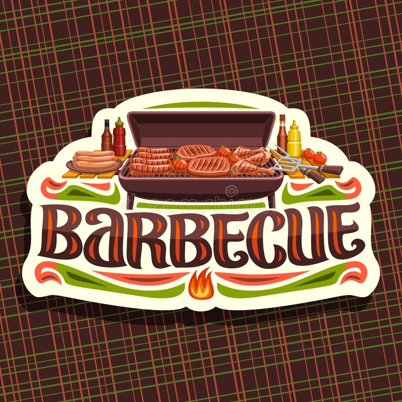Vector logo for Barbecue. White vintage label with roasted frankfurters, fresh tomatoes, juicy beefsteak and chicken legs, original typeface for word barbecue stock illustration