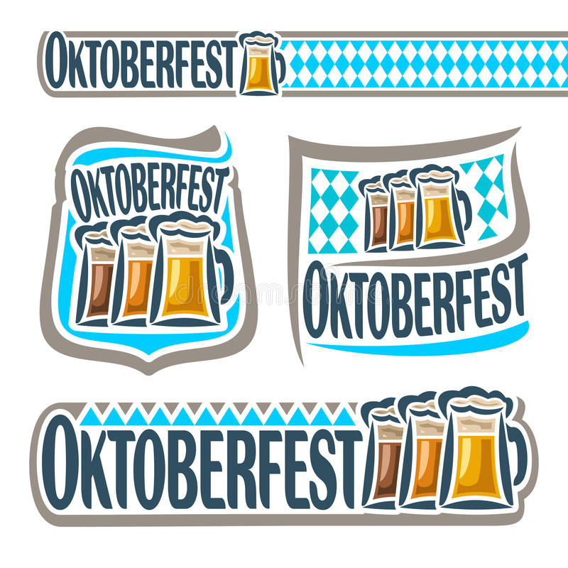 Vector logo bavarian pattern flag oktoberfest stock illustration