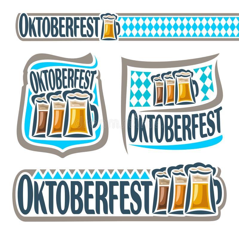 Vector logo bavarian pattern flag oktoberfest. With glass ale. Emblem Bavarian fest in Munich with alcohol drink. Banner Oktoberfest mug beer cup with porter stock illustration