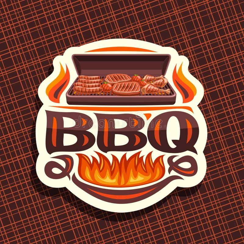 Vector logo for BBQ. White decorative label with roasted frankfurters, fresh tomatoes, juicy beefsteak and chicken legs, original typeface for word bbq royalty free illustration