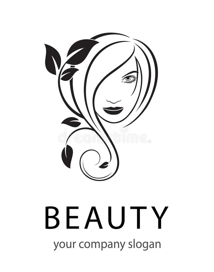 Vector Logo Beauty salon, Hair salon, Cosmetic. Female Face. Black and White. Silhouette Outline stock illustration