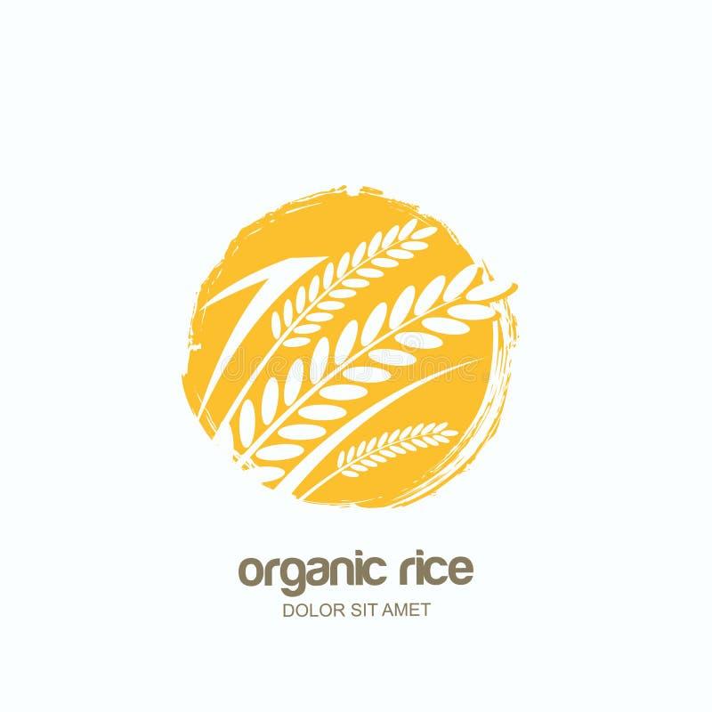 Vector Logo, beschriften Sie oder verpacken Sie Emblem mit Reis, Weizen, Roggenkörner Asiatische Landwirtschaft, Getreideprodukte lizenzfreie abbildung
