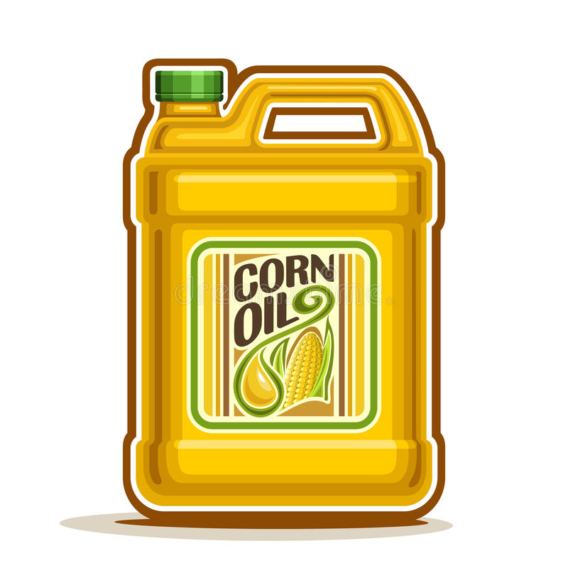 Vector logo big Bottle with Corn Oil. Vector logo big yellow plastic Bottle with Corn Oil and label, gallon canister filled maize cooking oil, cartoon large royalty free illustration