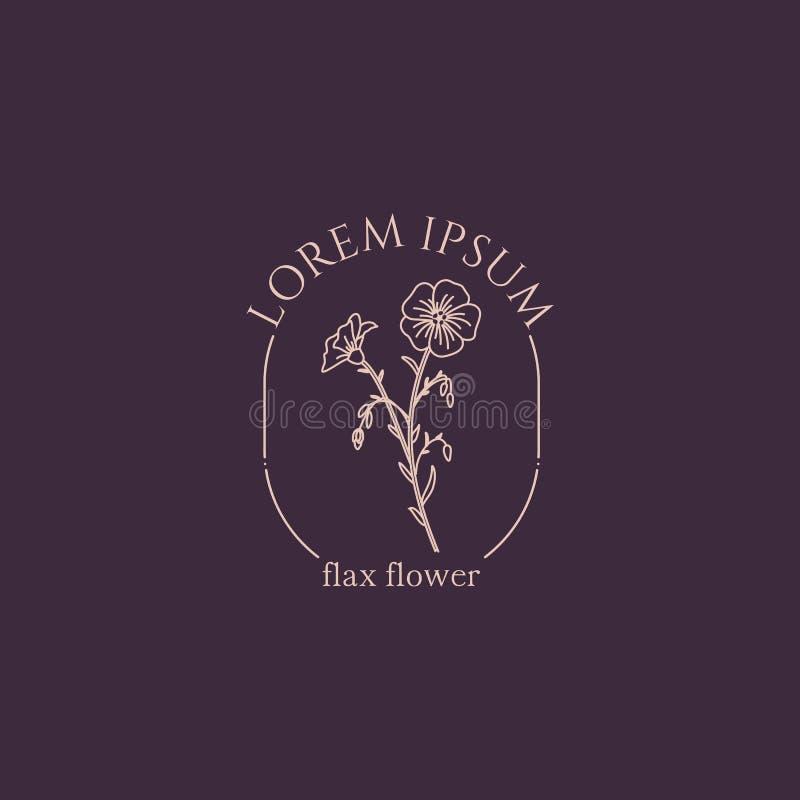Botanical flower logo royalty free illustration