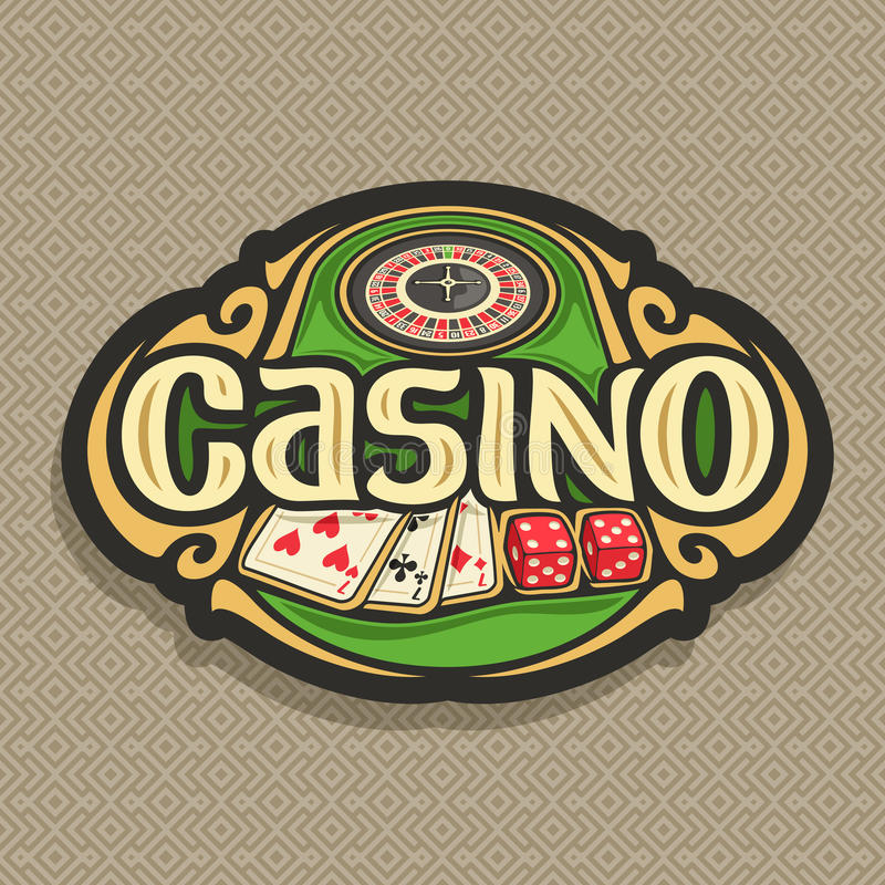 Vector logo for Casino club on brown background. Roulette wheel on green table, lettering title - casino, combination of playing cards 3 seven for blackjack, 2 royalty free illustration