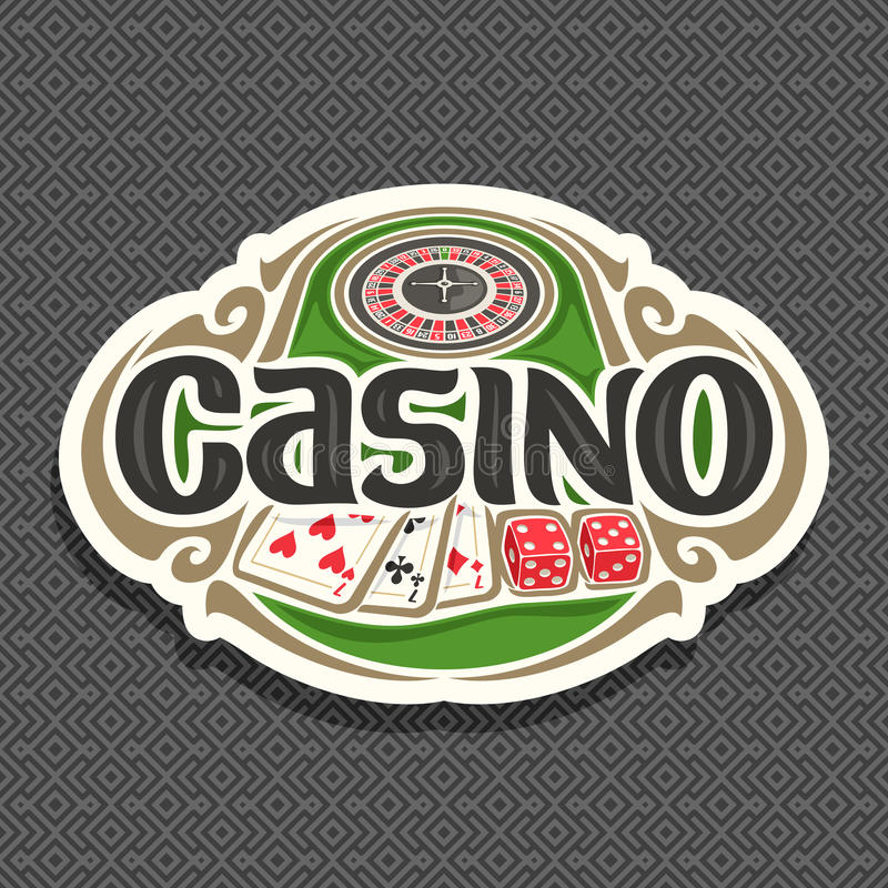 Vector logo for Casino club on grey background. Roulette wheel on green table, lettering text - casino, combination of playing cards 3 seven for blackjack, 2 vector illustration