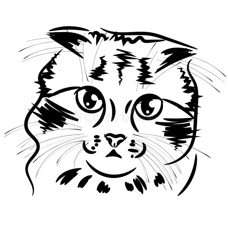 The Vector logo cat for T-shirt design or outwear. Hunting style cat background.Vector royalty free illustration