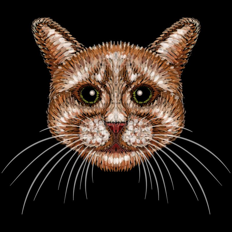 The Vector logo cat for tattoo or T-shirt design or outwear.  Cute print style cat background. stock images
