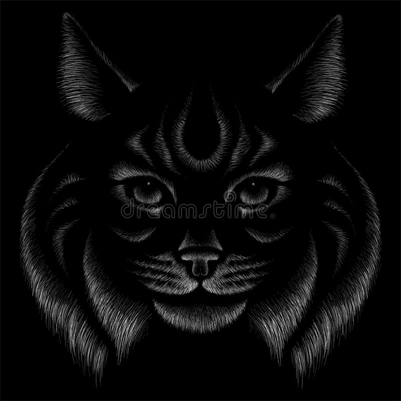 The Vector logo cat for tattoo or T-shirt design or outwear.  Cute print style cat background. This drawing would be nice to make stock photo