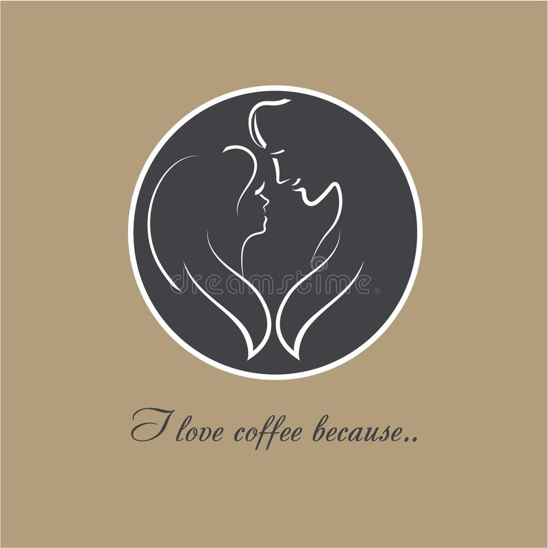 Vector logo Coffee Love. Two silhouettes of a romantic couple in love. A coffee cup top with image of young female and male royalty free illustration