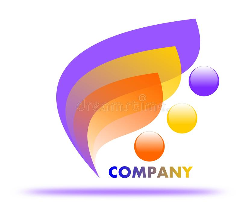 Drawing tricolor company logo. vector illustration