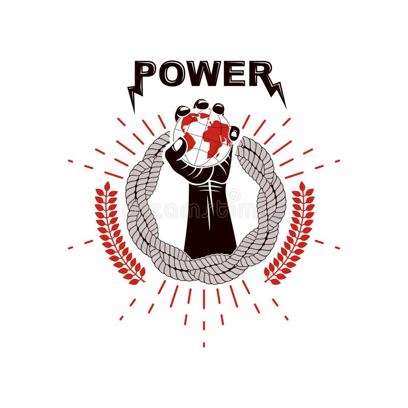 Vector logo composed using strong muscular raised arm surrounded. By rope and holding Earth globe. Authority as the means of global control and manipulation royalty free illustration