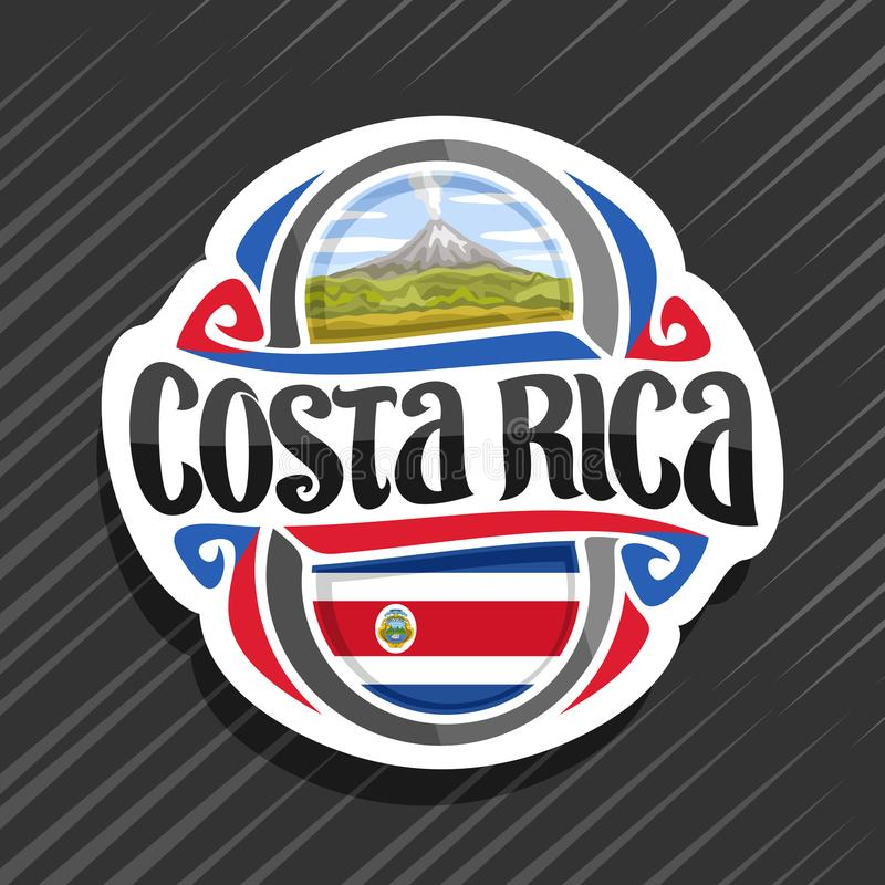 Vector logo for Costa Rica. Country, fridge magnet with state flag, original brush typeface for words costa rica and national symbol - erupting Arenal Volcano vector illustration