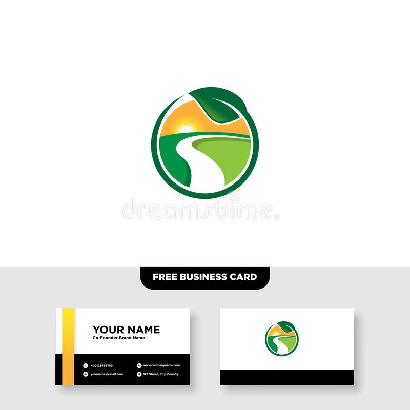 Vector logo design for agriculture, agronomy, rural country farming field, natural harvest stock photo