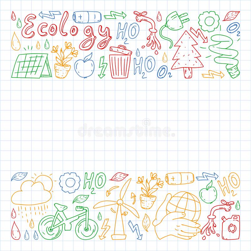 Vector logo, design and badge in trendy drawing style - zero waste concept, recycle and reuse, reduce - ecological lifestyle and. Sustainable developments icons stock photography