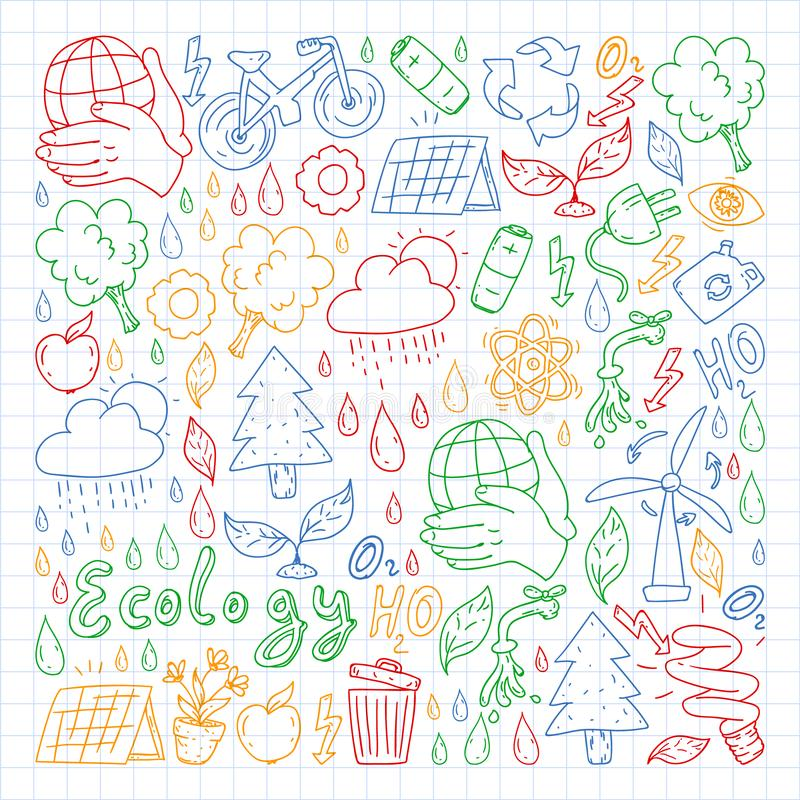Vector logo, design and badge in trendy drawing style - zero waste concept, recycle and reuse, reduce - ecological lifestyle and. Sustainable developments icons royalty free stock image