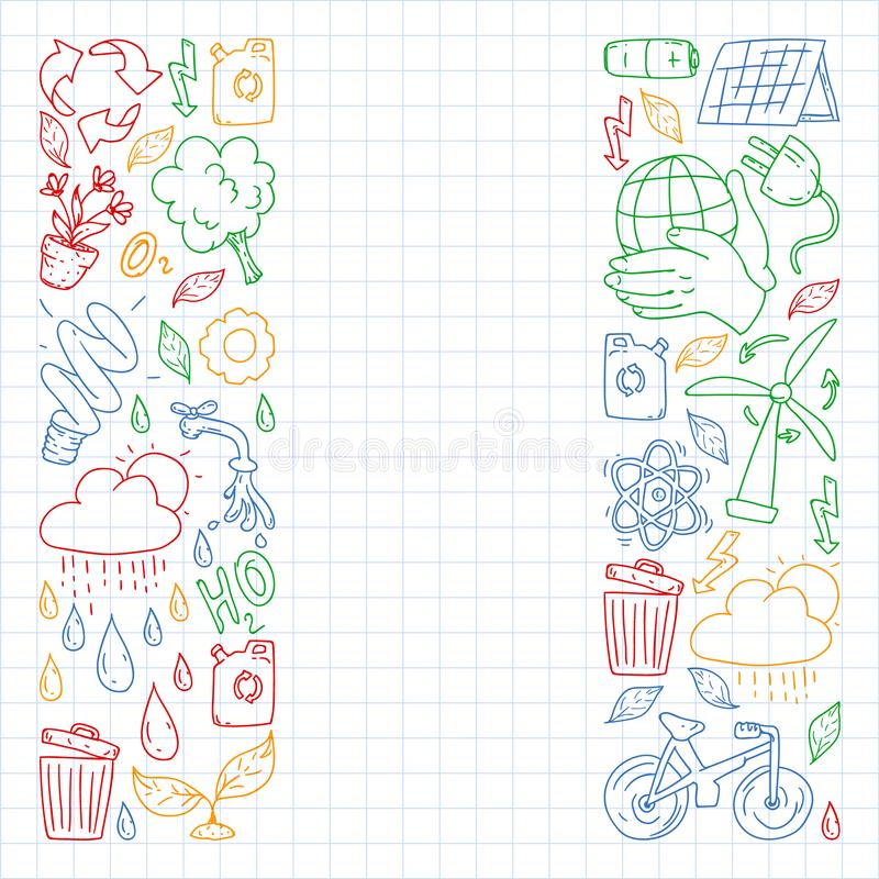 Vector logo, design and badge in trendy drawing style - zero waste concept, recycle and reuse, reduce - ecological lifestyle and. Sustainable developments icons stock image