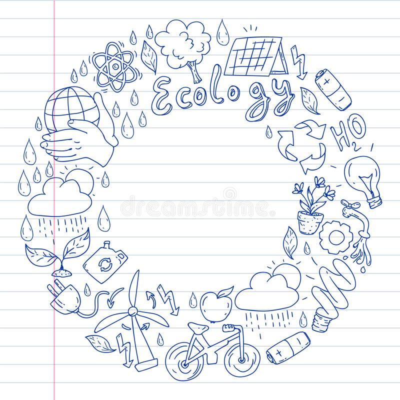 Vector logo, design and badge in trendy drawing style - zero waste concept, recycle and reuse, reduce - ecological lifestyle and. Sustainable developments icons stock images