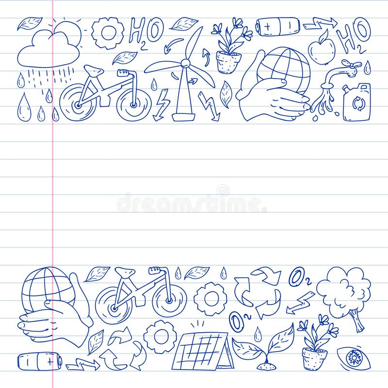 Vector logo, design and badge in trendy drawing style - zero waste concept, recycle and reuse, reduce - ecological lifestyle and. Sustainable developments icons royalty free stock photos