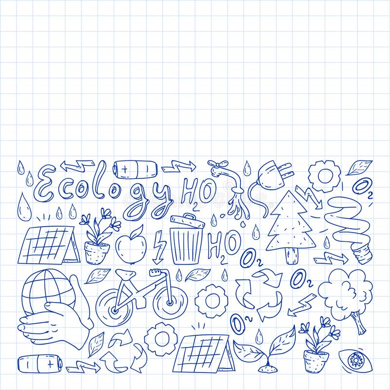 Vector logo, design and badge in trendy drawing style - zero waste concept, recycle and reuse, reduce - ecological. Lifestyle and sustainable developments icons stock illustration