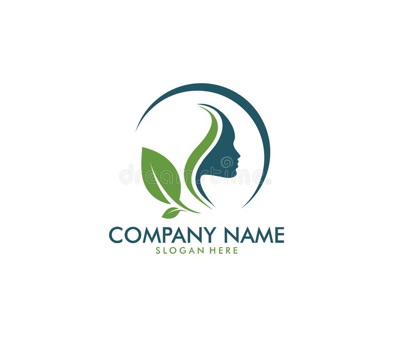 Vector logo design for beauty salon, dermatology center, wellness house, skincare, cosmetic, natural,. Healthy body care service spa, sophisticate and feminine stock illustration