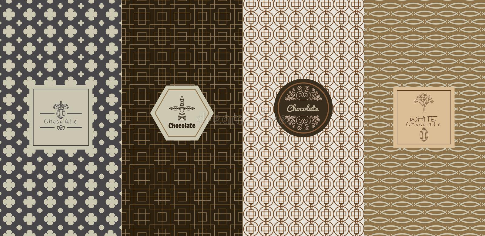 Vector logo design concepts and templates in trendy linear style. For chocolate packaging vector illustration